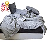 Soft Cotton Geometric Duvet Cover Set King Grey Cross Pattern Reversible Bedding Set Luxury Hotel Duvet Comforter Cover Set for Teens Men Boys 3 Piece Cotton King Bedding Collection