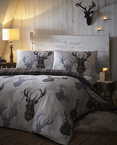Tartan Stag Reversible Duvet Quilt Cover Bedding Set Grey -