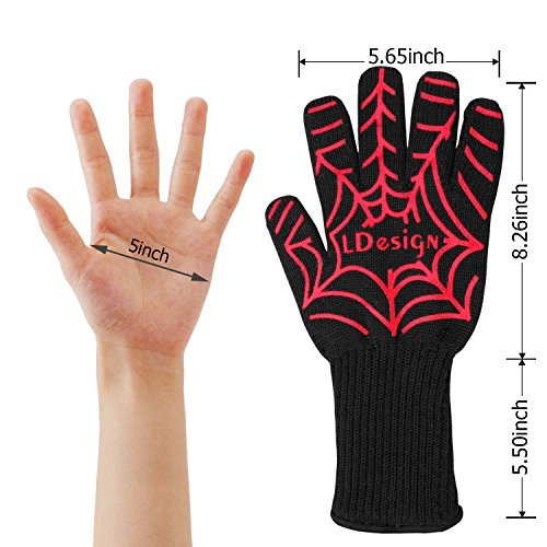 BBQ Gloves & Oven Mitts, LDesign Grill Gloves Heat Resistant & Non-Slip with Extended Protection & Internal Cotton Layer for Barbecue, Cooking, Baking (1 Pair)