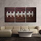 "wall26 - 3 Piece Canvas Wall Art - American Football Laces Close Up Macro Photo - Modern Home Decor Stretched and Framed Ready to Hang - 16""x24""x3 Panels"