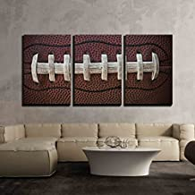 "wall26-3 Piece Canvas Wall Art - American Football Laces Close Up Macro Photo - Modern Home Decor Stretched and Framed Ready to Hang - 24""x36""x3 Panels"