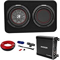 Kicker 43TCWRT82 COMPRT8 8 600W Shallow Subwoofer in Sub Box+Amplifier+Amp Kit
