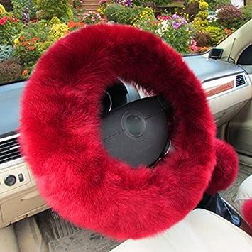 XuanMax Universale Inverno Lungo Peluche Coprivolante Auto Set con Freno a Mano Pomello del Cambio Gear Shift Covers Peloso Soffice Veicolo Copri Volante Copertura di Volante 38cm Nero