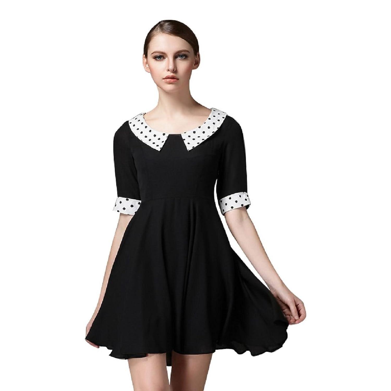 Beauty-Emily Women's Lapel Polka Half Sleeves Mini Casual Summer Gowns Little Black Gown