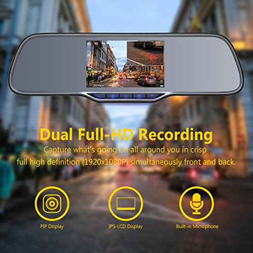 Z-EDGE Z2Pro Dual Dash Cam, 2K Ultra HD 2160P Front & 1080P Rear 5.0'' Ultra Clear IPS Rearview Mirror, Front and Rear Dash Cam, Backup Camera with 150 Degree Viewing Angle, WDR, 16GB card included by Z-EDGE (Image #4)