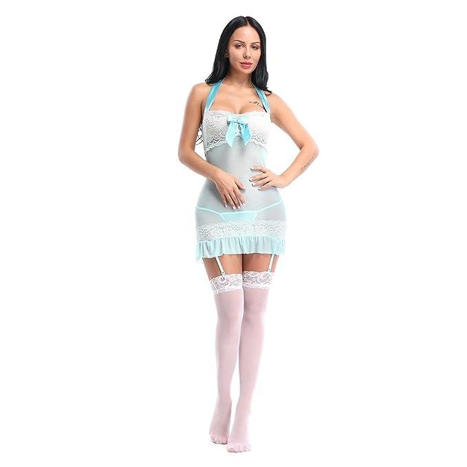 dou616 Ropa Interior erótica Que cuelga el cordón del Cuello del Acoplamiento Atractivo Pijamas del tutú del Arco Azul: Amazon.es: Ropa y accesorios