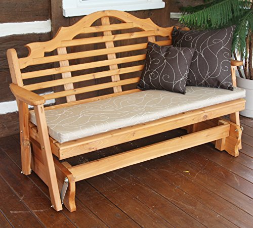 CEDAR PORCH GLIDER BENCH Outdoor Patio Gliding Bench, 2 Person Wooden Loveseat Benches, Amish Made Furniture Weather Resistant Western Red Cedar Wood, 5 Styles (5ft, Lutyen Cedar Stain) ()