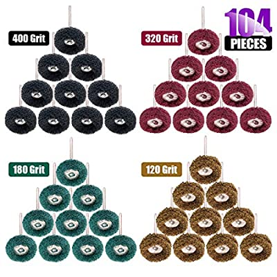 "Swpeet 104Pcs 1"" (25mm) 120 180 320 400 Grits Fine Abrasive Wheel Buffing Polishing Wheel Set with 3 mm Shank for Dremel Rotary Tool and Metal Polishing Grinding Accessories"