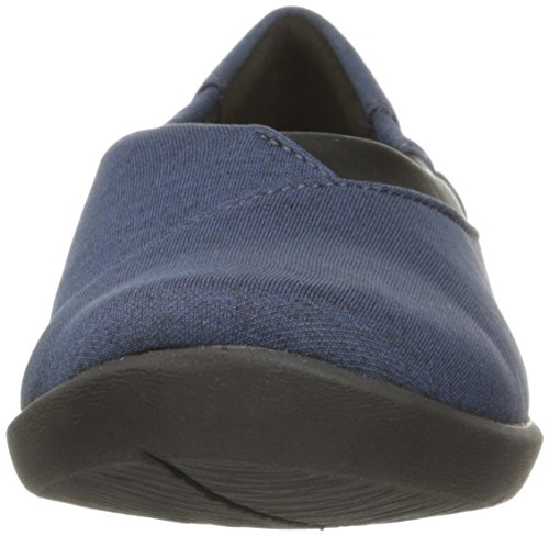 CLARKS Womens CloudSteppers Sillian Jetay Flat Dark Blue Heathered Fabric IILlR6x
