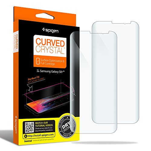 Spigen Galaxy S8 Plus Screen Protector Curved Crystal / 2 Pack/Curved Film/Case Friendly/Dry Application for Samsung Galaxy S8 Plus