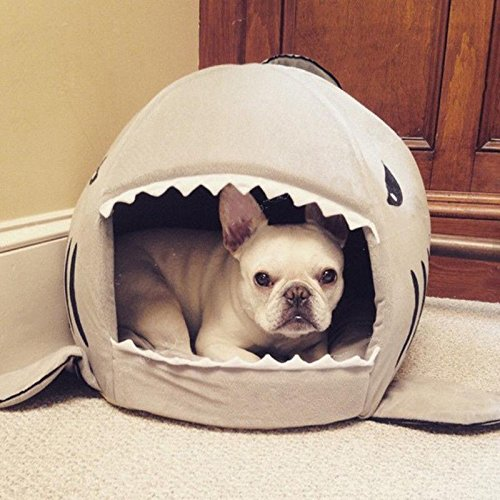 Cheap Hifrenchies Pet House Frenchie Shark House Washable Dog Cave Bed with Removable Cushion and a Non-slip Bottom for Small Pet (48(H) x50(W) cm open, Grey)