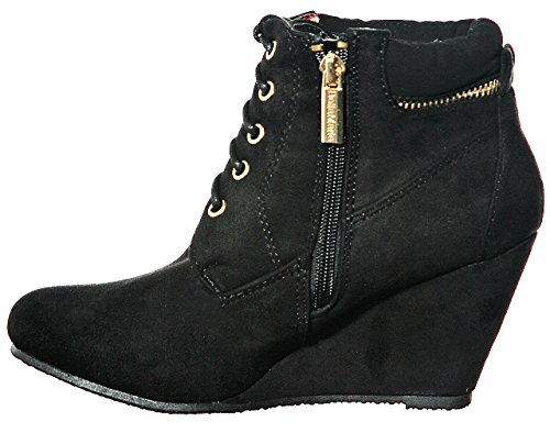 Platform Fashion Blacklin Bootie up Comfort NEW Wedge s STYLES Women's Lace A1naY
