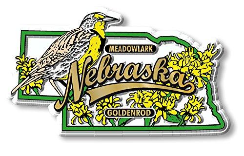 Bird Nebraska Flower State (State Bird & Flower Magnet - Nebraska)