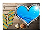 MSD Placemat Kitchen Table 15.8 x 12 x 0.2 inches Metal porthole heart shape with stylized waves on wooden floor sand flip flops sandals and two seashells Image ID 24039913