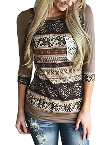 ROSKIKI Women's 3/4 Sleeve Contrast Color Vintage Floral T Shirt Blouse Tunic Tops US (12-14) Brown