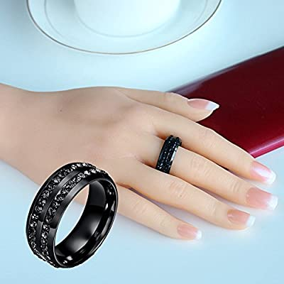 Keepfit Unisex Micro Inlaid Rhinestone Titanium Ring Band Size 6-13