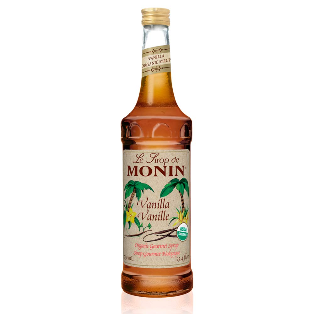 Monin - Organic Vanilla Syrup, Naturally Smooth Sweetness, Great for Coffee, Shakes,
