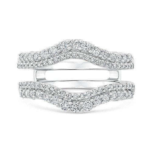 Ellaura Embrace Round Diamond Double Row Ring Guard 7/8ctw - Size 8.5 by REEDS (Image #1)