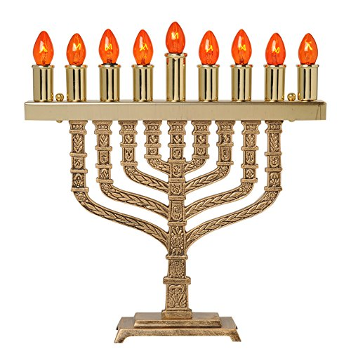 Solid Brass Twelve Tribes of Israel Electric Chanukah Menorah with Bulbs