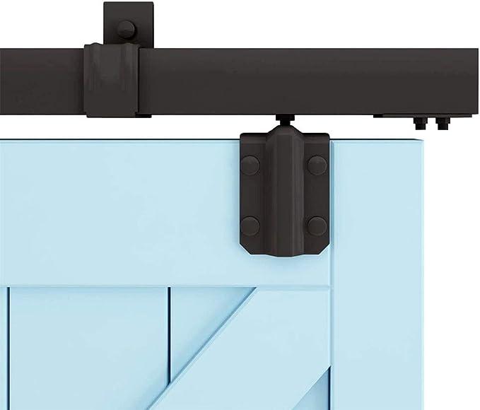 Herraje para Puerta Corredera Kit Kit de hardware de riel para colgar en la puerta de granero de 150-244 cm, Juego completo de puertas correderas Puerta oculta con amortiguación Accesorios de pista: