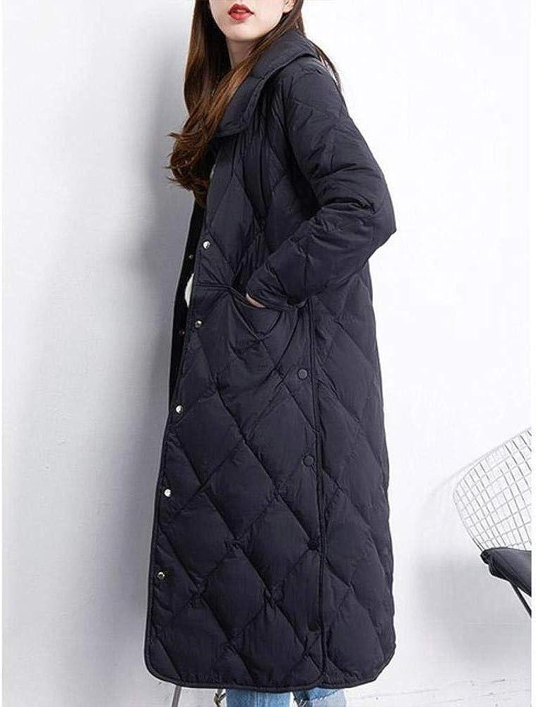 kuoshaoye - Piumino Invernale Lungo da Donna, con Colletto Alto, Colore: Bianco Beige