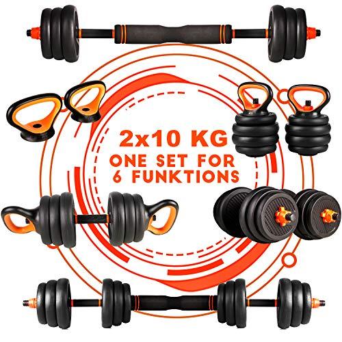 CCLIFE Kit halt/ères Musculation Kettlebell de 2x10KG,2x12,5KG,2x20KG Poids Ajustable