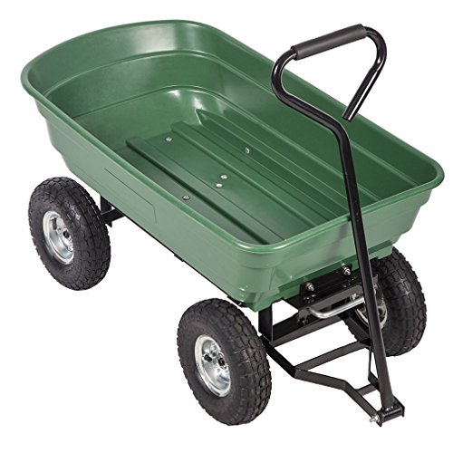 Heavy Duty Poly Garden Utility Yard Dump Cart Wheel Barrow Garden Cart