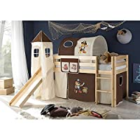 Rutschbett Kiefer massiv natur EN 747-1 + 747-2 Hochbett Kinderbett Spielbett Jugendbett Massivbett Kinderzimmer Jugendzimmer