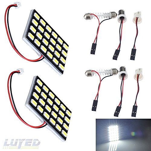 LUYED 2 x 960LM Super Bright 5630 24-SMD White Color Panel Interior Dome LED Lights(Include 3 Adapter)