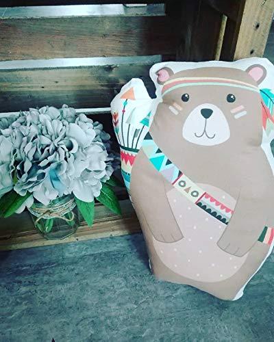 coussin sérigraphié, thème ours indien, en coton, décoration ...