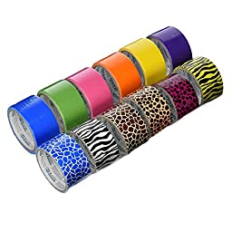 12 Roll Variety Pack of Bazic Print Colors (brights colors) of All Purpose Duct Tape. Brights Include: green, blue, orange, purple,pink and yellow. The prints include: various animal prints. All solid color rolls are 1.89\