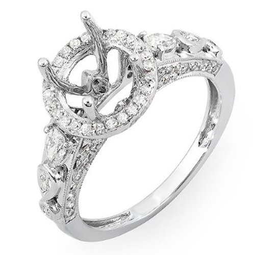 DazzlingRock Collection 0.75 Carat (ctw) 18K White Gold Round & Pear Diamond Semi Mount Engagement Bridal Ring (Size 8)