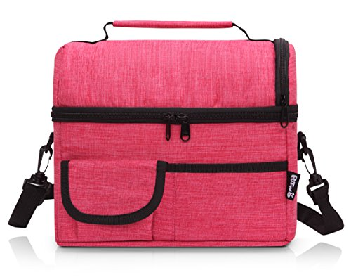 PuTwo Lunch Bag Insulated Large Capacity with YKK Zip Adjustable Shoulder Strap Lunch Bag - Rosy -  601420327090