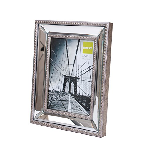 Beaded Frame (Kiera Grace Sutton Mirrored Picture Frame, 5 by 7 Inch,)