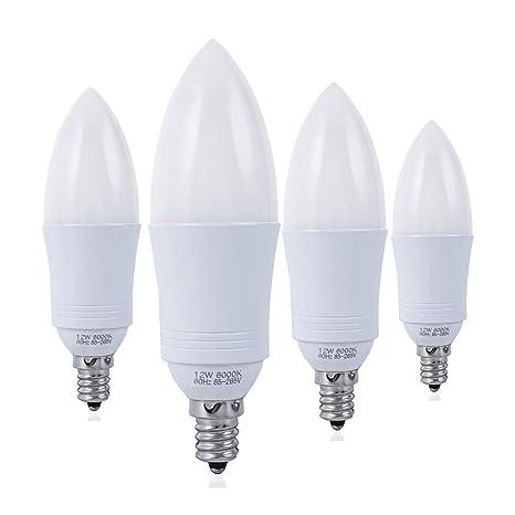 Yrlighting E12 Led Bulbs 100 Watt Equivalent Led Candelabra Bulb 12 Watt Candle Base Led Chandelier Light Bulbs Daylight White 6000k Led Lamp