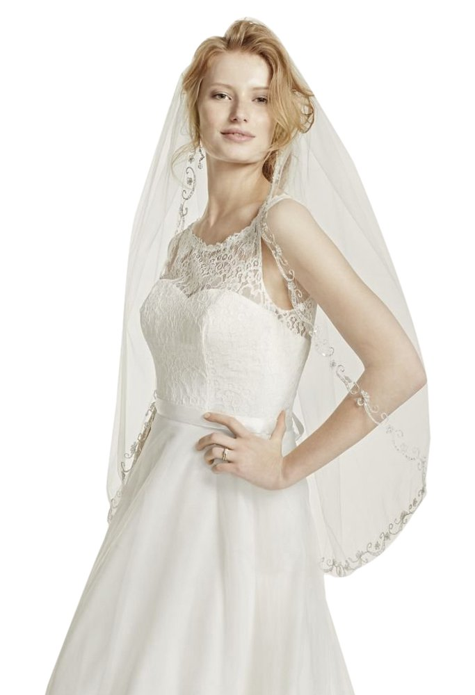 One Tier Mid Veil with Swirl Embellishment Style V206, Ivory