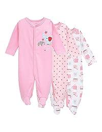 3-Pack Baby Footies Pajamas Girls' Long Sleeve Romper Overall Cotton Sleeper