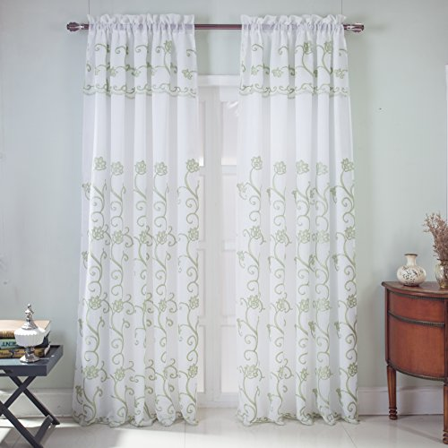 (RT Designers Collection Sterling Embroidered Rod Pocket Single Curtain Panel w/Attached 18