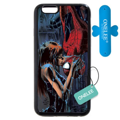 "Onelee Customized Marvel Series Case for iPhone 6+ Plus 5.5"", Marvel Comic Hero Spider Man Logo iPhone 6 Plus 5.5"" Case, Only Fit for Apple iPhone 6 Plus 5.5"" (Black Soft Rubber)[Free One Touch Silicone Stand]"