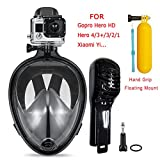 Snorkeling Mask,Seaview 180 Degree Scuba Diving Full Face Free Breath Design Breath Ventilation Concept Anti-Leak Anti-Fog Swimming Mask For Gopro Hero 4/3+/3/2/1 SJ4000 SJ5000 Sports Action Camera (Black, L/XL)
