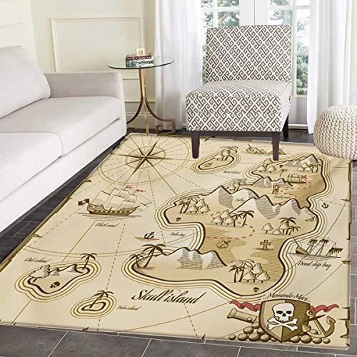 Map Of Sea Floor - Pirate Door Mats Area Rug Hand Drawn Map Treasure Island Sea Adventure Ocean Navigation Compass Floor mat Bath Mat tub 24