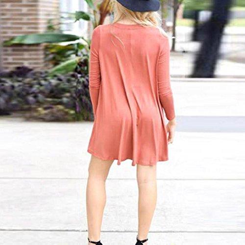 OverDose Mujeres Moda V cuello manga corta vestido mini Sandía roja