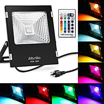 Albrillo 50w Outdoor Led Flood Lights Rgb Plug In Outside Security Lights With 360