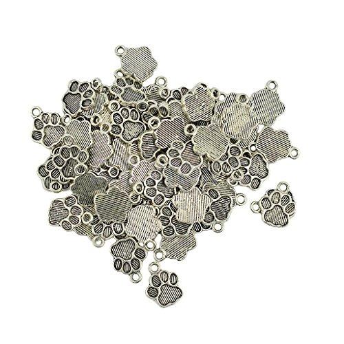 50pcs Tibetan Silver Cute Puppy Paw Print Charms Dangle P...