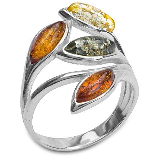 Multicolor Amber Sterling Silver Leaf ()