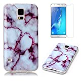 for Samsung Galaxy S5/S5 Neo Marble Case with Screen Protector,OYIME Creative Glossy Purple & White Marble Pattern Design Protective Bumper Soft Silicone Slim Thin Rubber Luxury Shockproof Cover