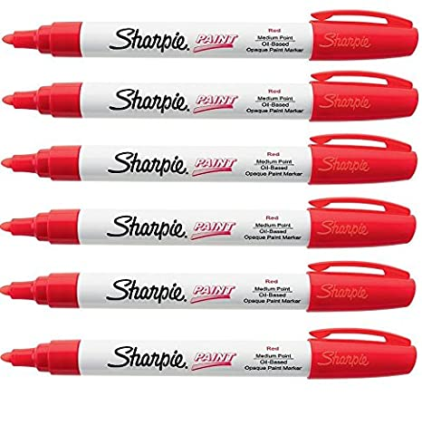 Sharpie Oil-Based Paint Marker, Medium Point 6-Pack (Red) - Sharpie Permanent Oil Based Paint