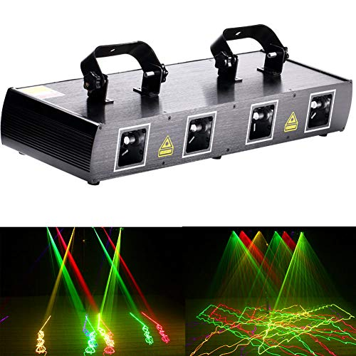 U`King Dj Disco Lights Party Lights 4 Beam Effect Sound Activated Strobe Light RGPY LED Music Lights By DMX Control for Dancing Club Bar Pub Lighting ()