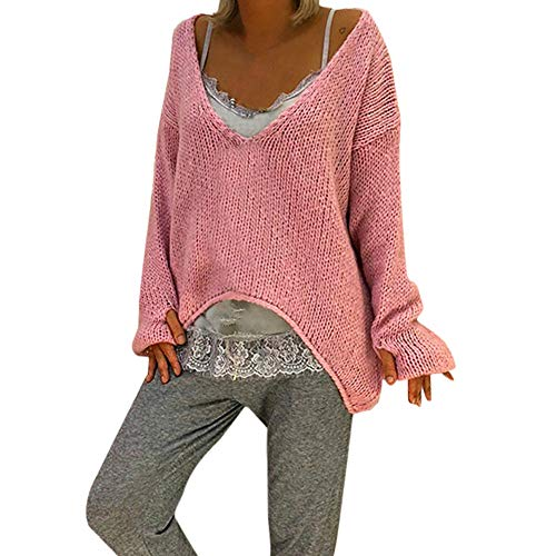 NUWFOR Women Warm V-neck Sweater Solid Color Long Sleeve Sweater Casual Knitted Sweater(Pink,US:8/CN:M) ()