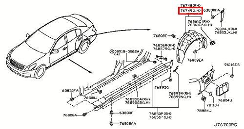 (Infiniti Genuine Body Side Fitting Rear Wheel House Left Protector 76749-JK000 G35/37/25)